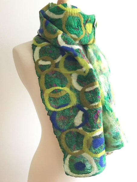 Grass Felted Sari Circle Scarf|One-of-a-Kind Wearable Art