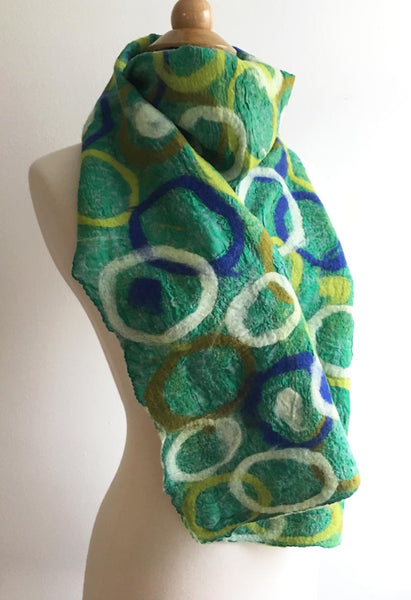 Grass Circle Scarf One-of-a-Kind Wearable Art