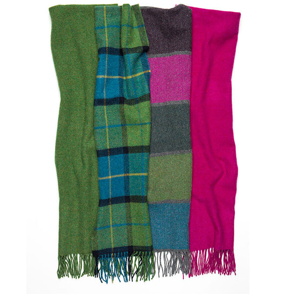 100% Lambswool Irish Scarf - Cormullen Leaf Green -   - 2