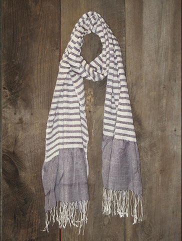 French Stripe Light Aubergine Scarf