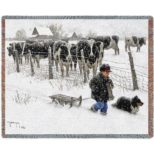 Winter's Eve Woven Throw Blanket by Robert Duncan© -
