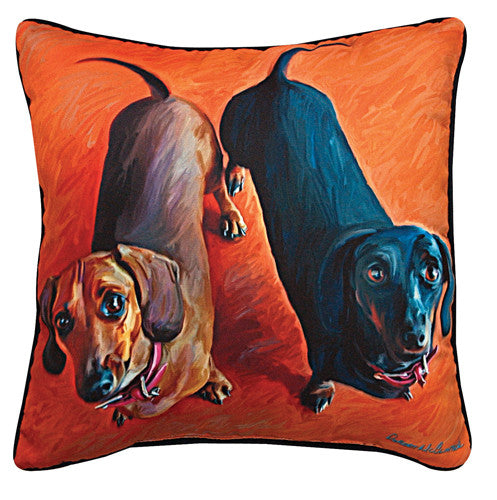 Double Dachsies Dachshund Pillow by Robert McClintock -