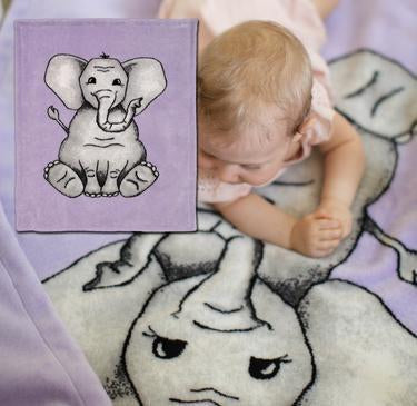 Baby Elephant Purple Denali Microplush™ Baby Blanket