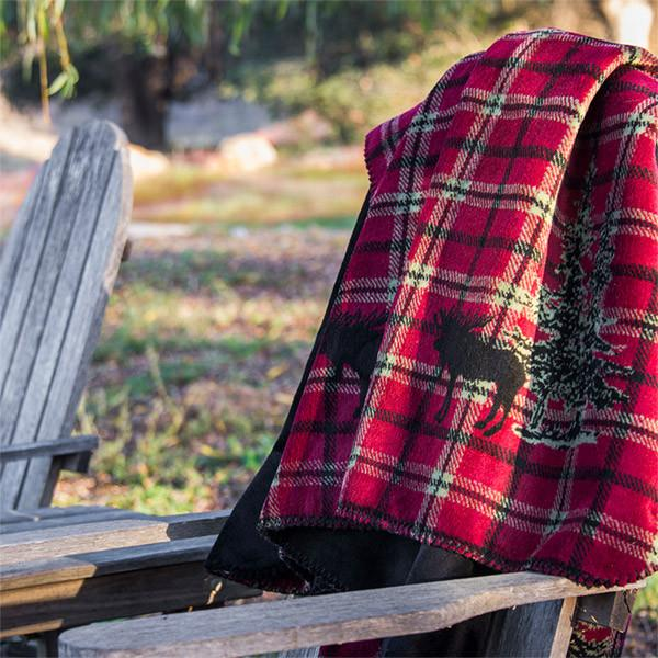 Denali Microplush™ Rustic Lodge Throw - Moose Plaid Border