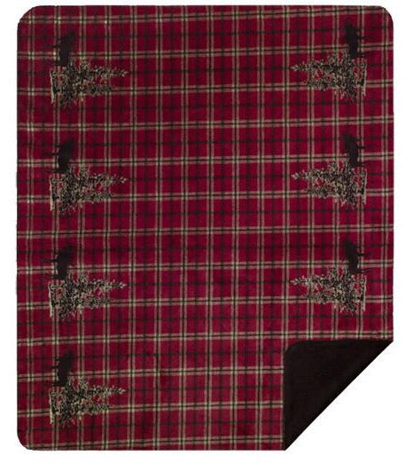 Moose Plaid Border Denali Microplush™ Rustic Lodge Throw Blanket