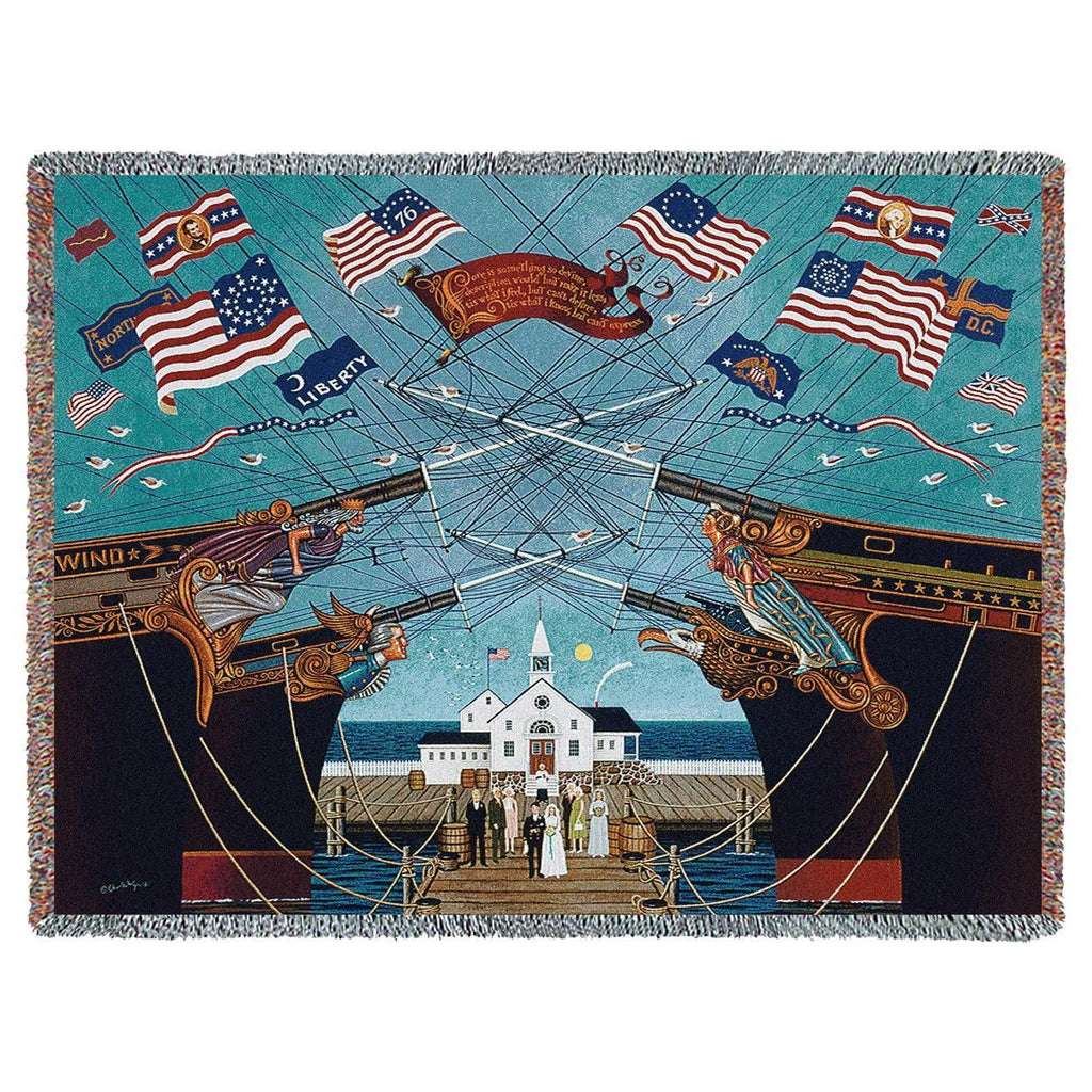 Dockside Marriage Woven Throw Blanket by Charles Wysocki©