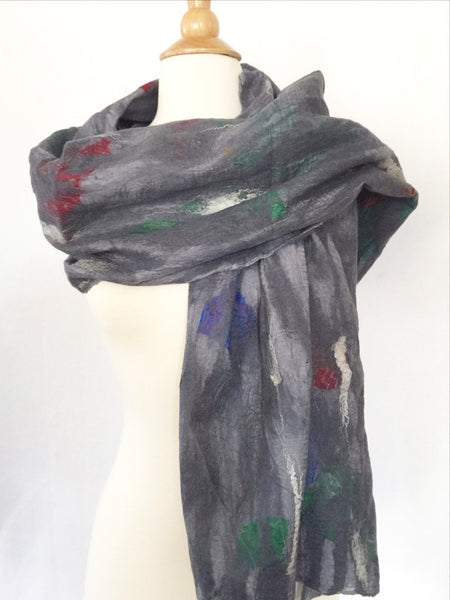 "Dove Gray Nuno Felted Merino Wool-Sari Silk ""Shawl-Stole""