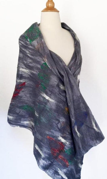 "Dove Gray Nuno Felted Merino Wool-Sari Silk ""Stole"" - One-of-a-Kind Wearable Art"