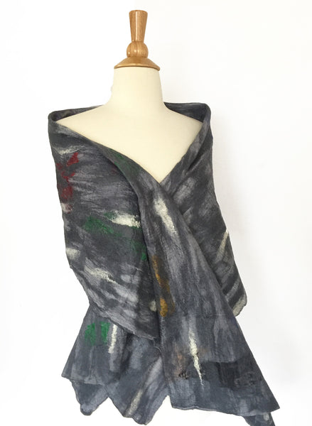 "Dove Gray Nuno Felted Merino Wool-Sari Silk ""Wrap-Stole"" - One-of-a-Kind Wearable Art"