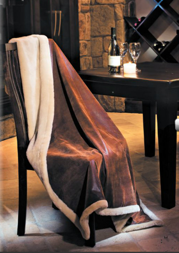 Vintage Brown Faux Leather Throw Blanket w/Pearl Faux Fur|Decorating Option