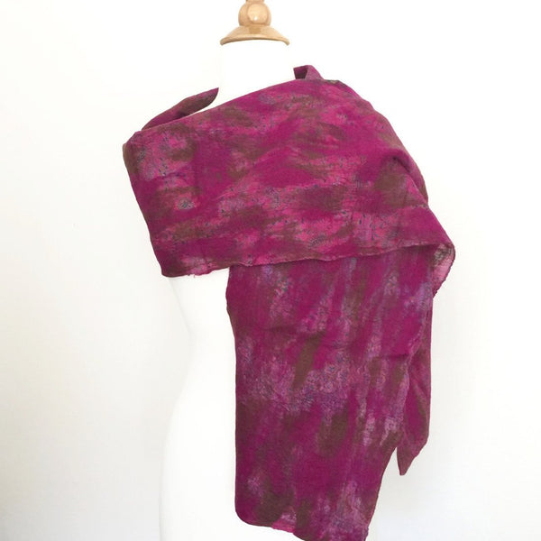 Berry Vintage Sari Felted Wool-Silk Scarf - One-of-a-Kind -   - 3