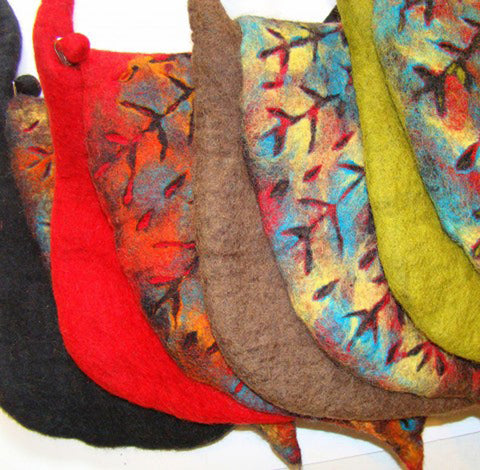 Handmade Nuno Felted Wool Crossbody Bag - One-Of-A-Kind|4 Colors -   - 5
