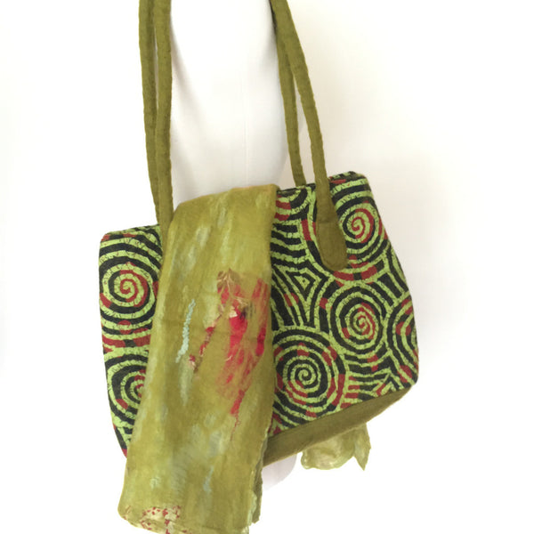 Chartreuse Felted Sari Collage Wool-Silk Scarf - One-of-a-Kind -   - 1