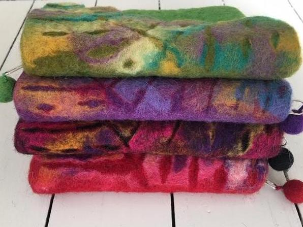 Nuno Felted Wool Leaf Coin Purses One-Of-A-Kind