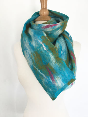 Abstract Paint II Nuno Felted Merino Wool-Sari Silk Scarf - One-of-a-Kind Wearable Art