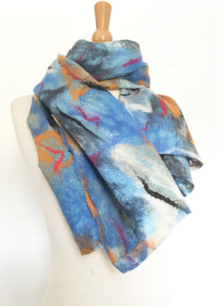 Abstract Paint I Nuno Felted Merino Wool-Sari Silk Scarf - One-of-a-Kind Wearable Art