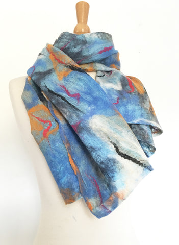 Abstract Paint I Nuno Felted Merino Wool-Sari Silk Scarf|One-of-a-Kind Wearable Art