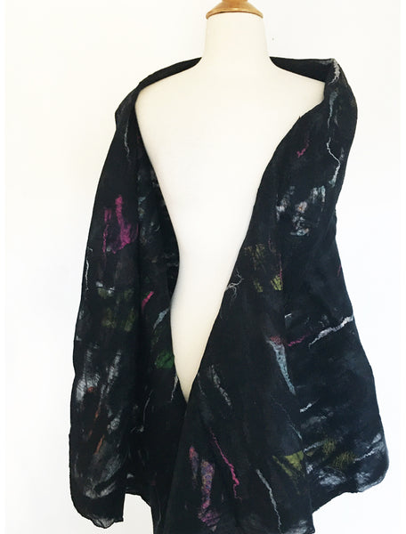 "Black Nuno Felted Wool-Sari Silk ""Shawl-Stole""