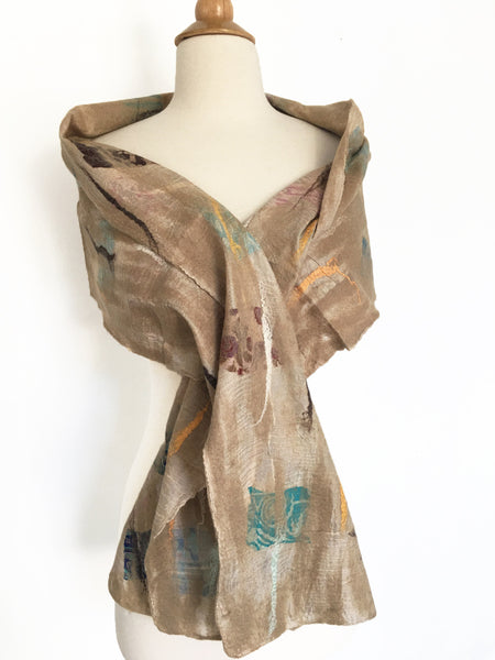 Champagne Nuno Felted Merino Wool-Sari Silk Scarf - One-of-a-Kind Wearable Art