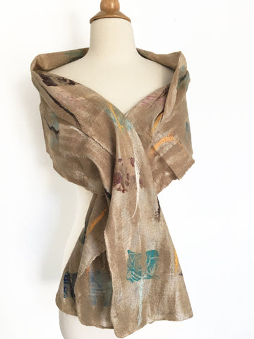 Champagne Nuno Felted Merino Wool-Sari Silk Scarf|One-of-a-Kind Wearable Art