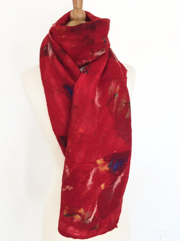 Red Nuno Felted Merino Wool-Sari Silk Scarf|One-of-a-Kind Wearable Art