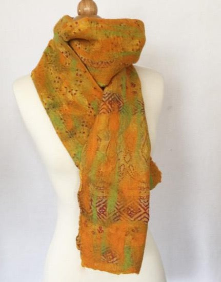 Sunset Circle Scarf One-of-a-Kind Wearable Art