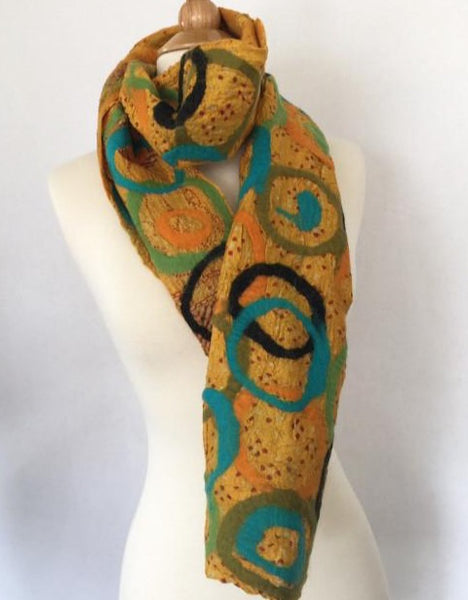 Sunset Felted Sari Circle Scarf|One-of-a-Kind Wearable Art