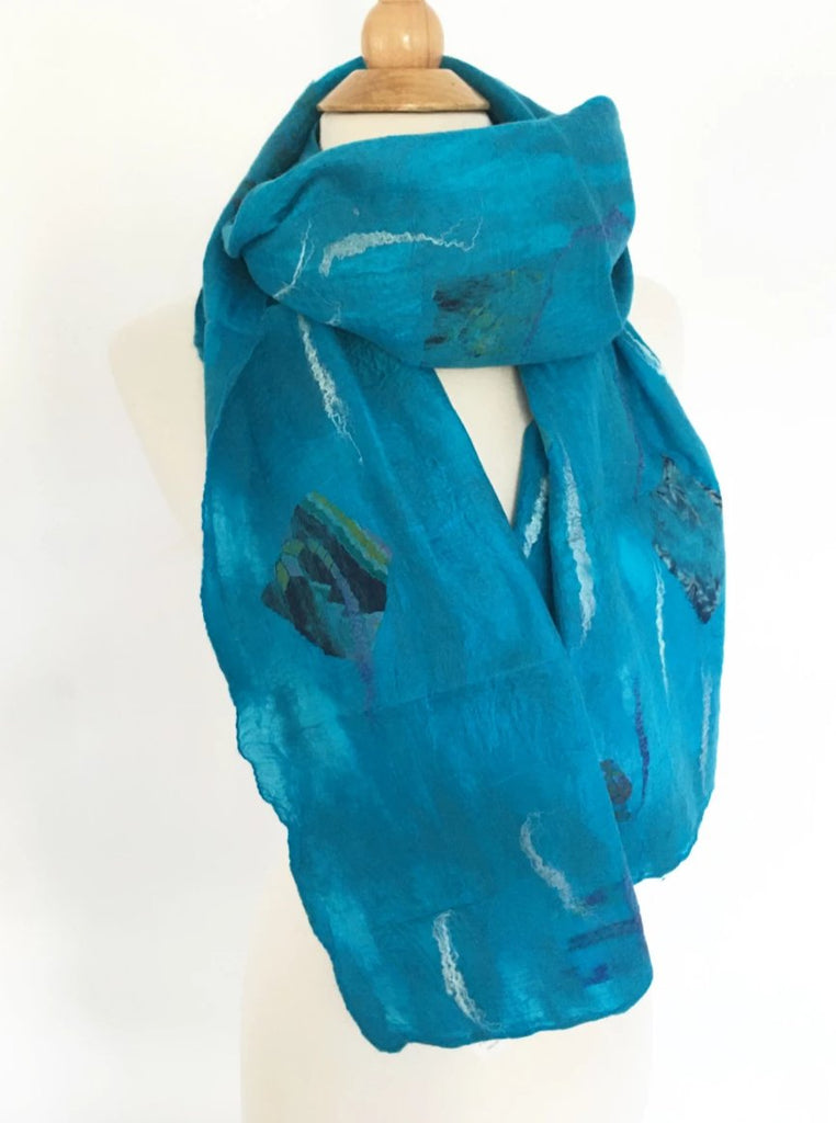 Turquoise Nuno Felted Merino Wool-Sari Silk Scarf - One-of-a-Kind Wearable Art