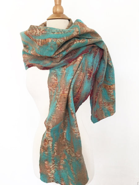 Turquoise-Sand Nuno Felted Merino Wool-Silk Sari Scarf - One-of-a-Kind Wearable Art
