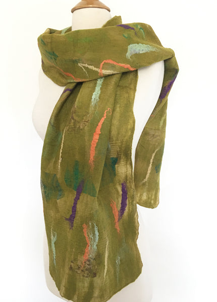 Chartreuse Nuno Felted Merino Wool-Sari Silk Scarf - One-of-a-Kind Wearable Art