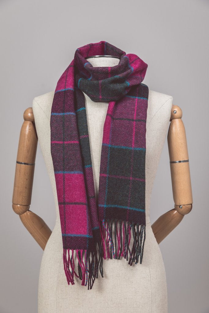 Foxford Lambswool Scarf - Carrigan Purple Plaid - Ireland