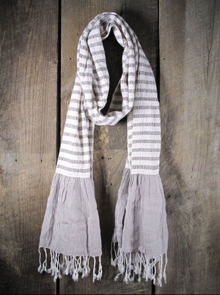 French Stripe Light Gray Scarf