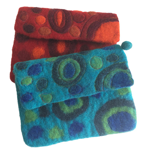 Galaxy Nuno Felted Wool Clutch Purses- One-Of-A-Kind