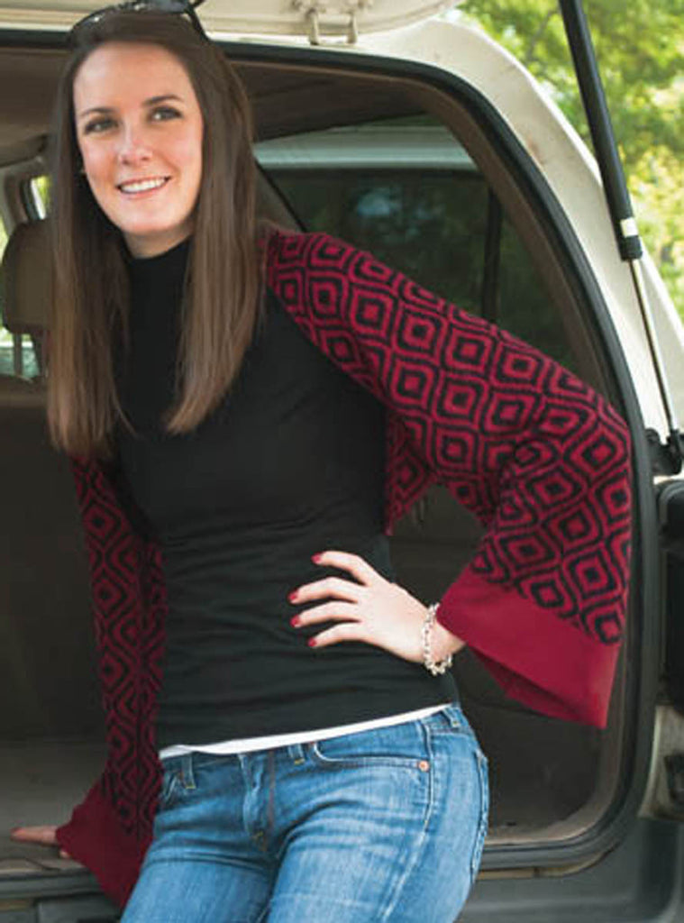 Bamboo Garnet and Black Ikat Scarf-Shawl-Cardigan 3 in 1 by Papillon -   - 1