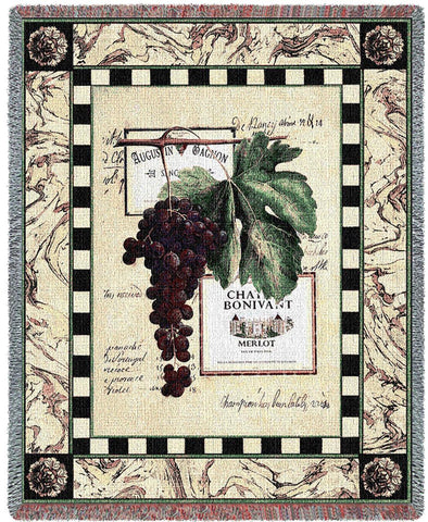 Grapes and Labels Merlot Woven Throw Blanket