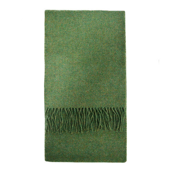 100% Lambswool Irish Scarf - Cormullen Leaf Green -   - 1