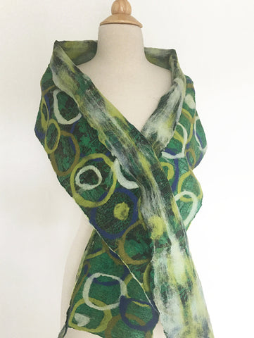 Green Felted Sari Circle Scarf|One-of-a-Kind Wearable Art