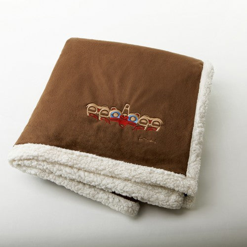 "Joe Mandur, Jr.© ""Grizzly Bear"" Embroidered Lambswool Throw - Chocolate"