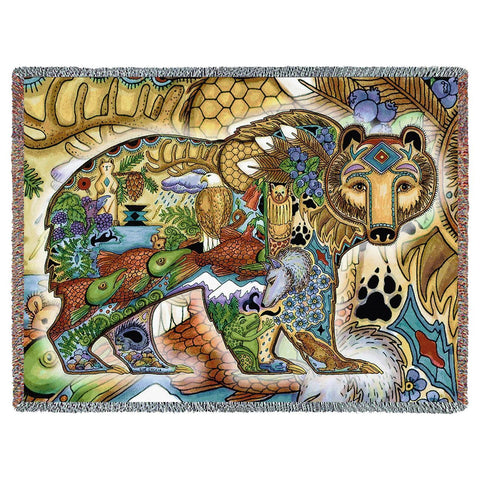 Northwest Grizzy Bear Woven Throw Blanket by Sue Coccia©