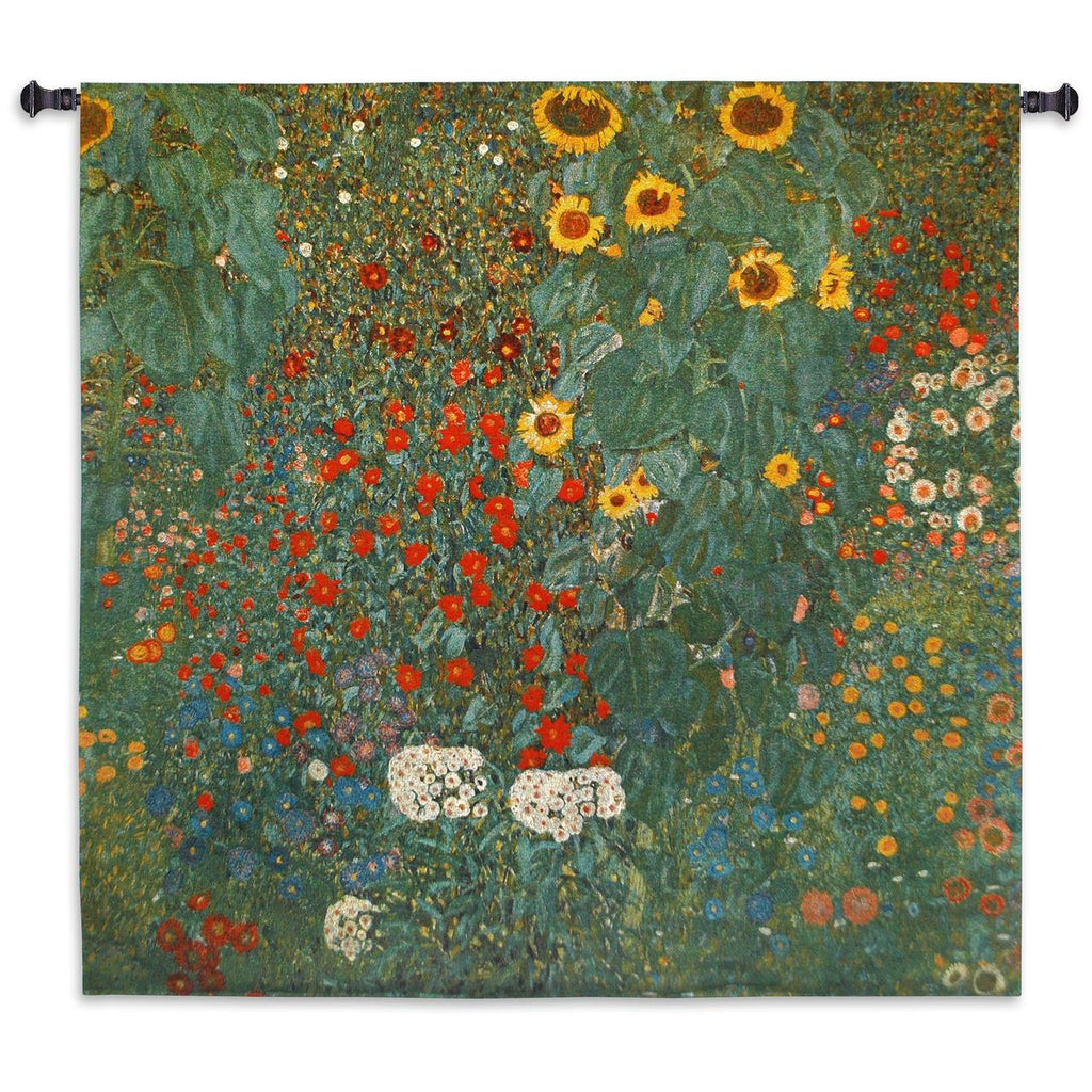 Gustav Klimt© Farm Garden With Sunflowers Wall Tapestry|3 Sizes
