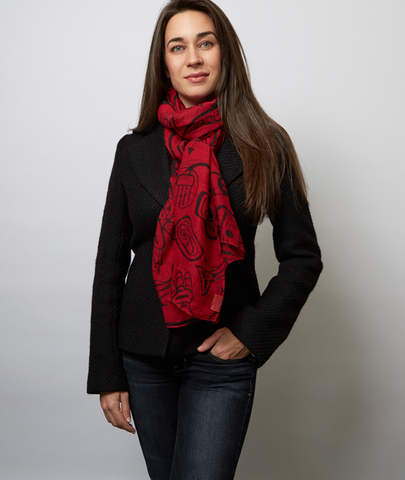 Haida Dreamtime Voile Scarf-Sarong by James Hart© - NW Haida Design