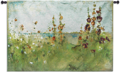 Hollyhocks By The Sea Wall Tapestry  by Cheri Blum©