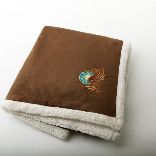 "Joe Mandur, Jr.© ""Hummingbird"" Embroidered Lambswool Throw - Chocolate"