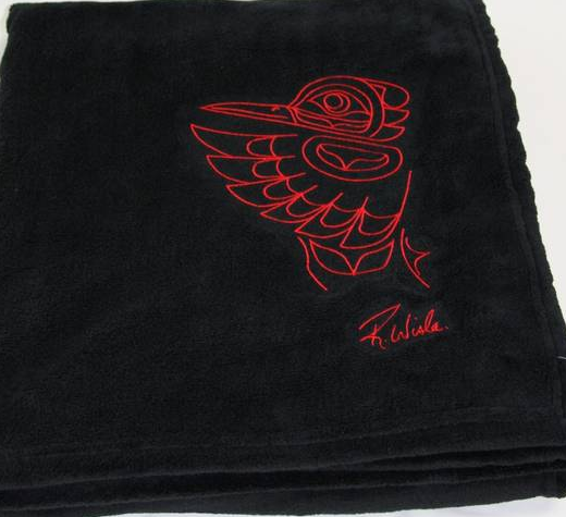 "Randy Wisla© ""Hummingbird"" Embroidered Plush Velura™ Throw - Black"
