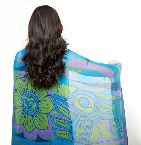 Hummingbird Voile Scarf-Sarong by Bill Helin© - NW Native Tribe Artist