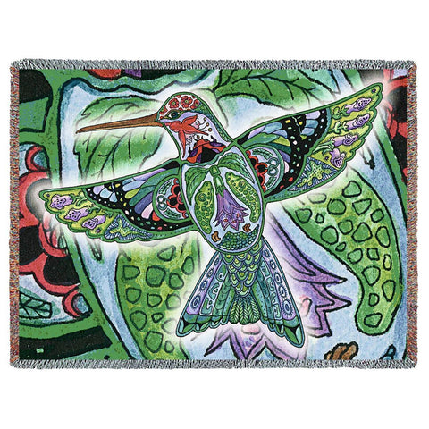 Northwest Hummingbird Woven Throw Blanket by Sue Coccia© - Native American