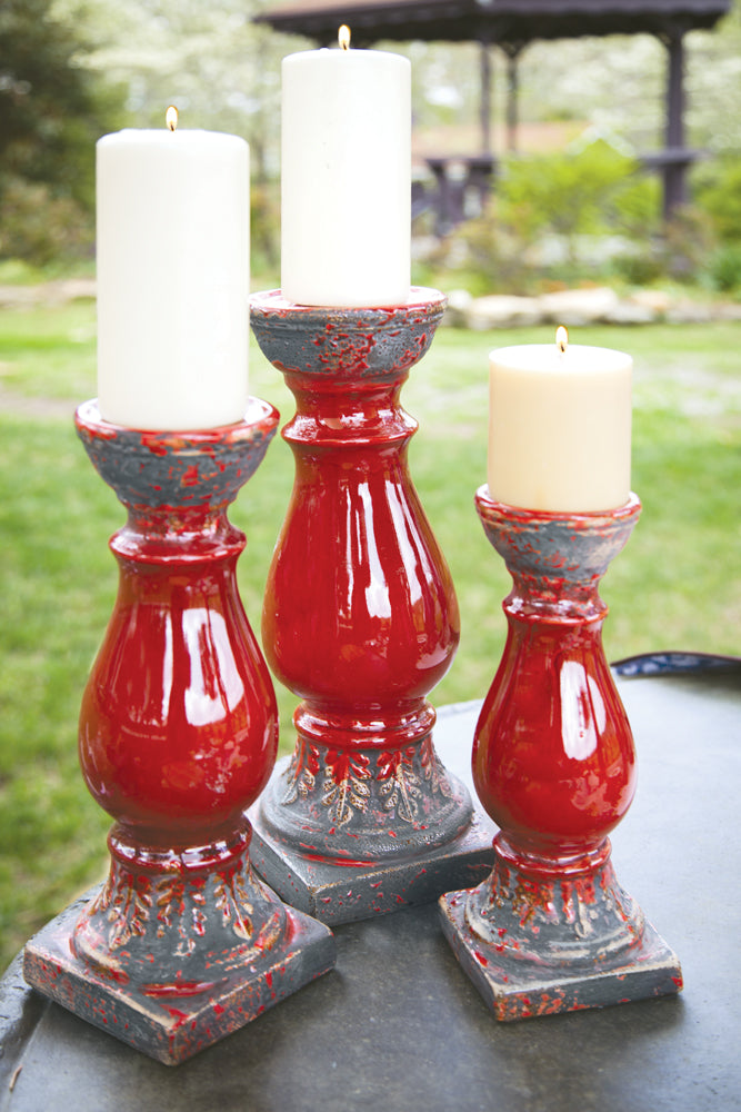 Red Ceramic Candle Holders|Set of 2 Medium