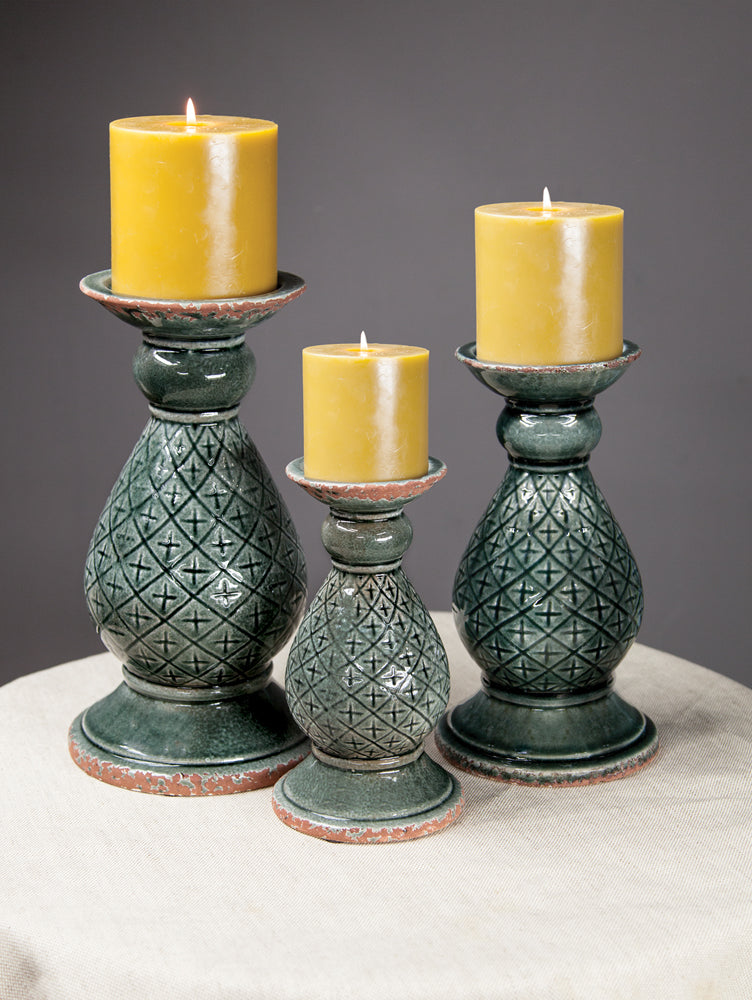 Ceramic Peacock Candle Holders|Set of 2 Large