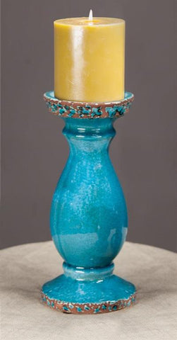 Turquoise Ceramic Candle Holders|Set of 2 Medium