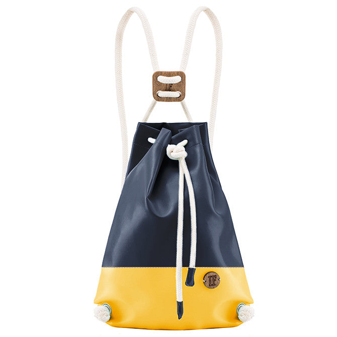 IF Double Backpack Navy and Yellow|Vegan Leather - Italy
